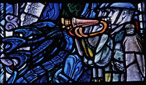 Section from stained glass window in King's Chapel
