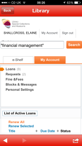 My Account area in Primo on the Library app
