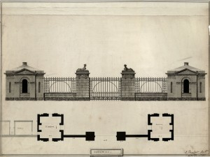 Gateway from series of plans, drawings and sketches of Cairness House by James Playfair  (see factsheet, 'Architectural resources in  Special Collections')
