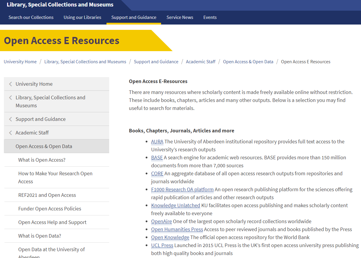 Open Access lib page screenshot